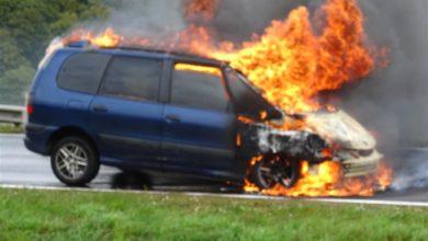 Photo of Brand eines Pkw /Betrunkene Fahrzeugfahrerin verursacht Unfall