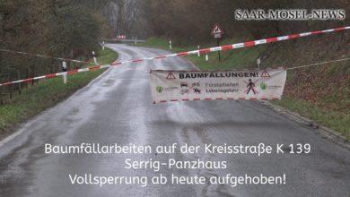 Photo of Vollsperrung der K 139 ab heute aufgehoben – Neue Vollsperrung K 68 Mandern – Zerf im März 2020