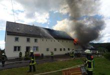 Photo of Brand eines landwirtschaftlichen Gebäudes