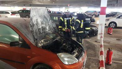 Photo of Pkw gerät in einem Konzer Parkhaus in Brand