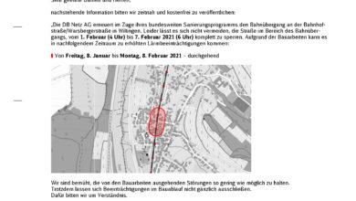 Photo of Bahnübergang Bahnhof Wiltingen vom 1. – 7.Februar wegen Sanierungsarbeiten gesperrt.